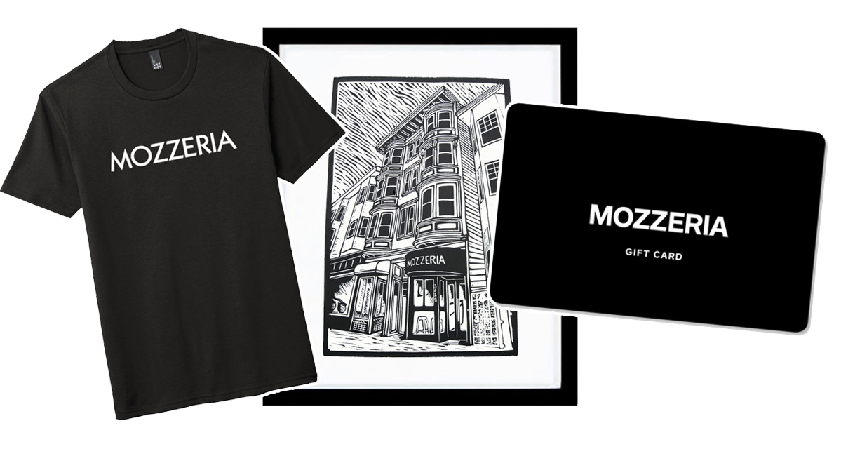 Mozzeria t-shirt, framed art, and Mozzeria gift card